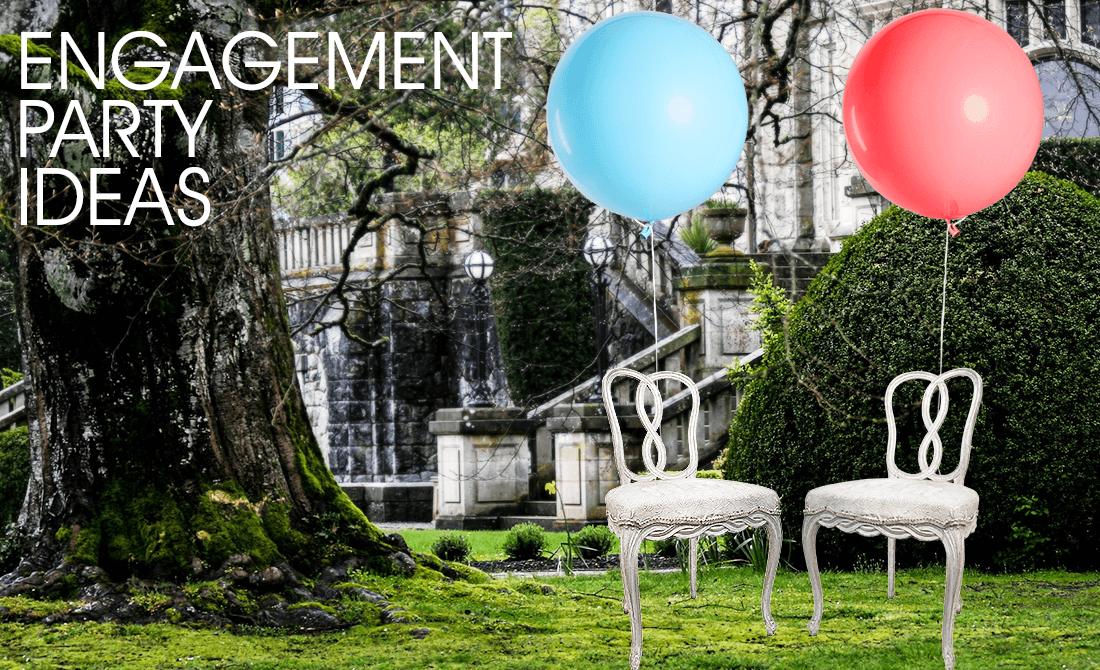 Chairs with balloons in a garden engagement party