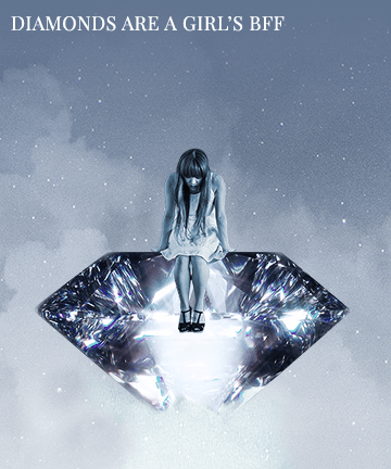 Girl sitting on a huge diamond in the sky