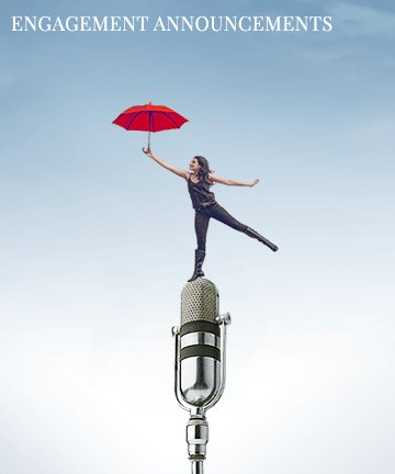 Girl with an umbrella dancing on top of a microphone