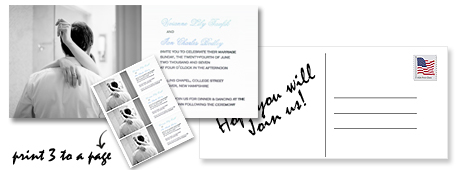 DIY invitations with party details and the couple's picture