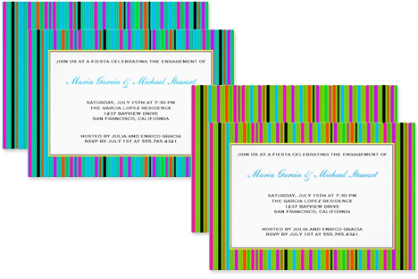 Striped and colorful engagement party invitations