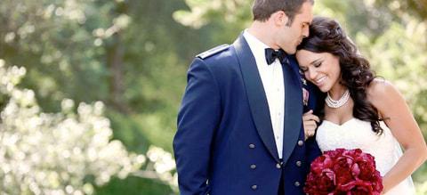 A lieutenant and his bride at their wedding