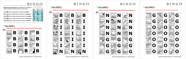 25 Themed bingo cards and 25 bonus cards