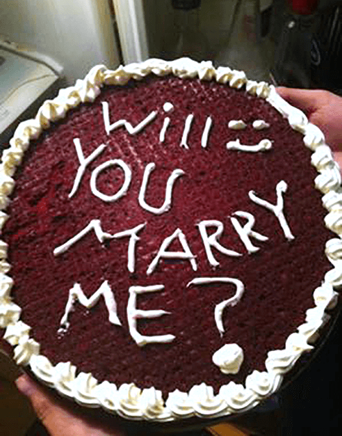 Birthday Cake with will you marry me written in icing