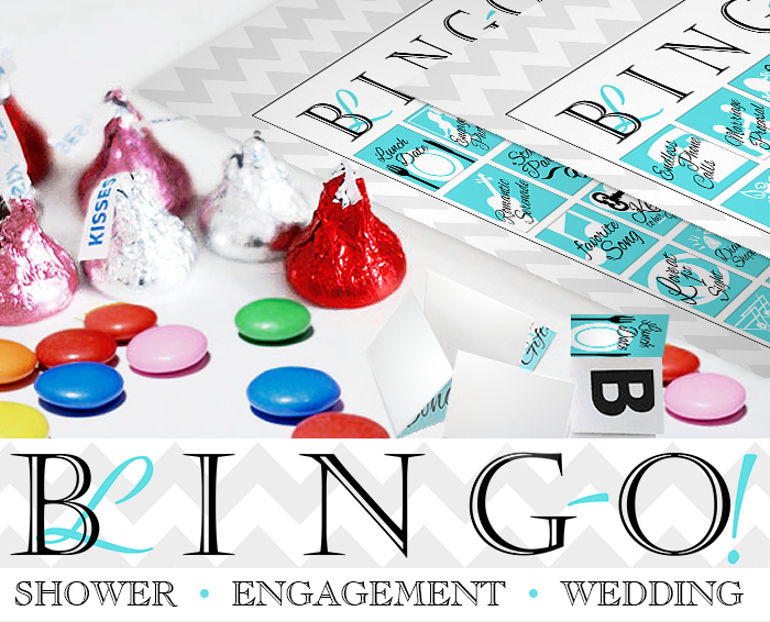 Tiffany blue bingo cards with candy markers