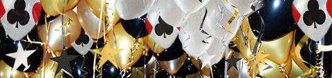 White black and gold balloons