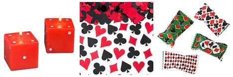 Casino party favors and confetti