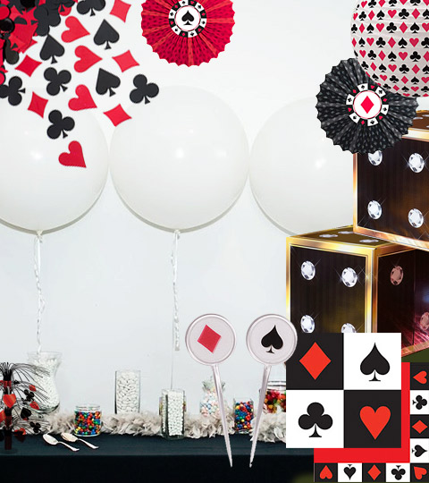 Table decorated with casino themed props