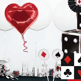 Red, white and black casino party decorations