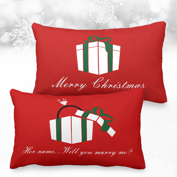 Personalized Christmas pillow with Will you marry me? printed on the back