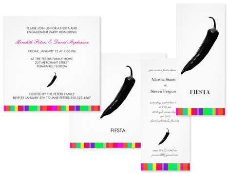 Fiesta Party Invitations with a Jalapeno design