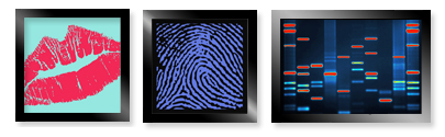 3 paintings of DNA art based on a person's lips, fingerprint and actual DNA