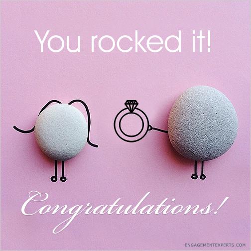Rock handing another rock an engagement ring