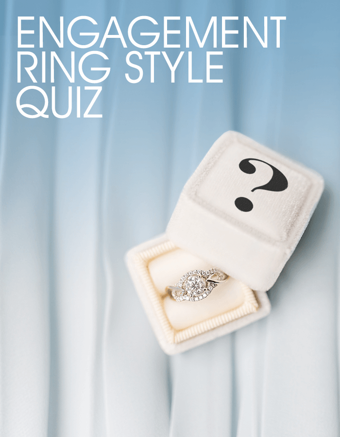 Engagement ring box with a question mark to represent a quiz