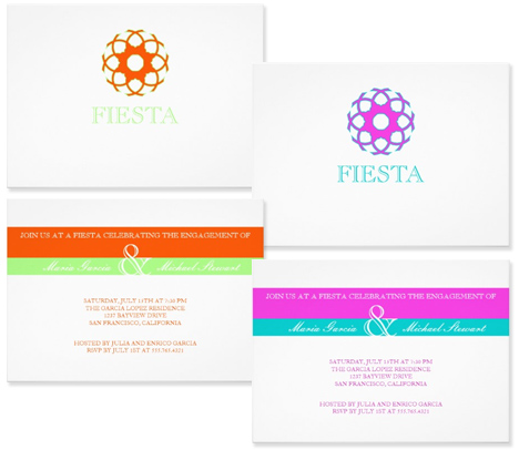 green and orange, pink and turquoise party invitations