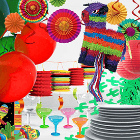 different Mexican and Fiesta Party decorations