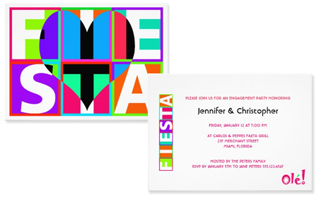 Heart shaped graphic modern fiesta party invitation