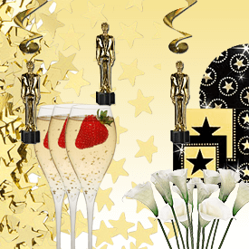 Gold decorations, oscar statue, champagne and strawberries in a Hollywood theme