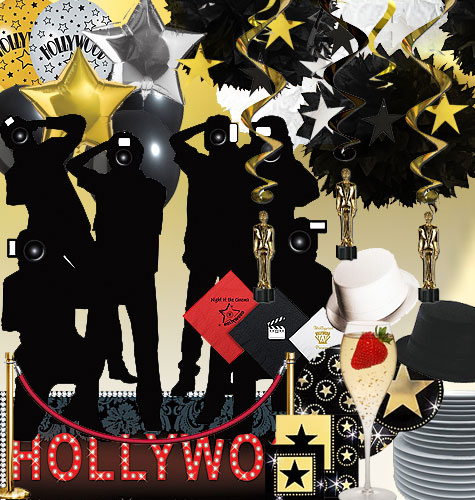 Gold Black and white party decorations for a Hollywood party theme