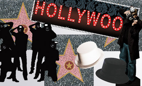 Paper cut outs of paparazzi, top hats and walk of fame Hollywood stars