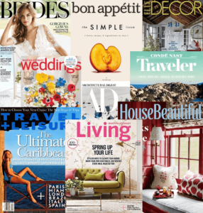 Different magazines related to weddings, engagements, honeymoons and married life