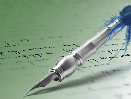 Quill pen over cursive text