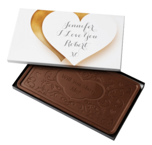 Large chocolate with WIll you marry me? and a box with personalized message