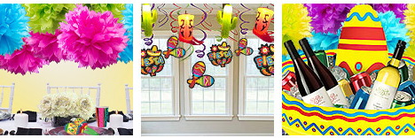 Colorful decorations for a Fiesta party theme