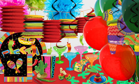 Different Mexican Fiesta themed decorations in bright colors
