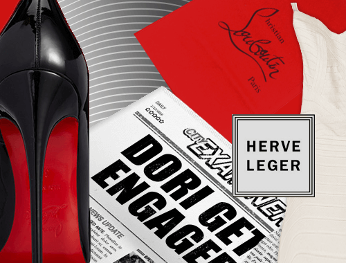 A dress, Louboutin shoe and shoe bag and Newspaper headline