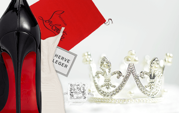 A tiara, a designer dress, black pumps and an Engagement ring.