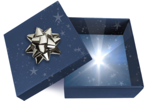 Blue Gift Box covered in stars with a silver bow