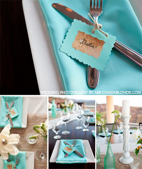 Place settings and decorative details and ideas for a Tiffany Blue Wedding & TIffany Blue Wedding Ideas and Engagement Parties