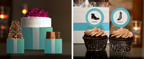 TIffany Blue boxes with white ribbon and cupcake signs