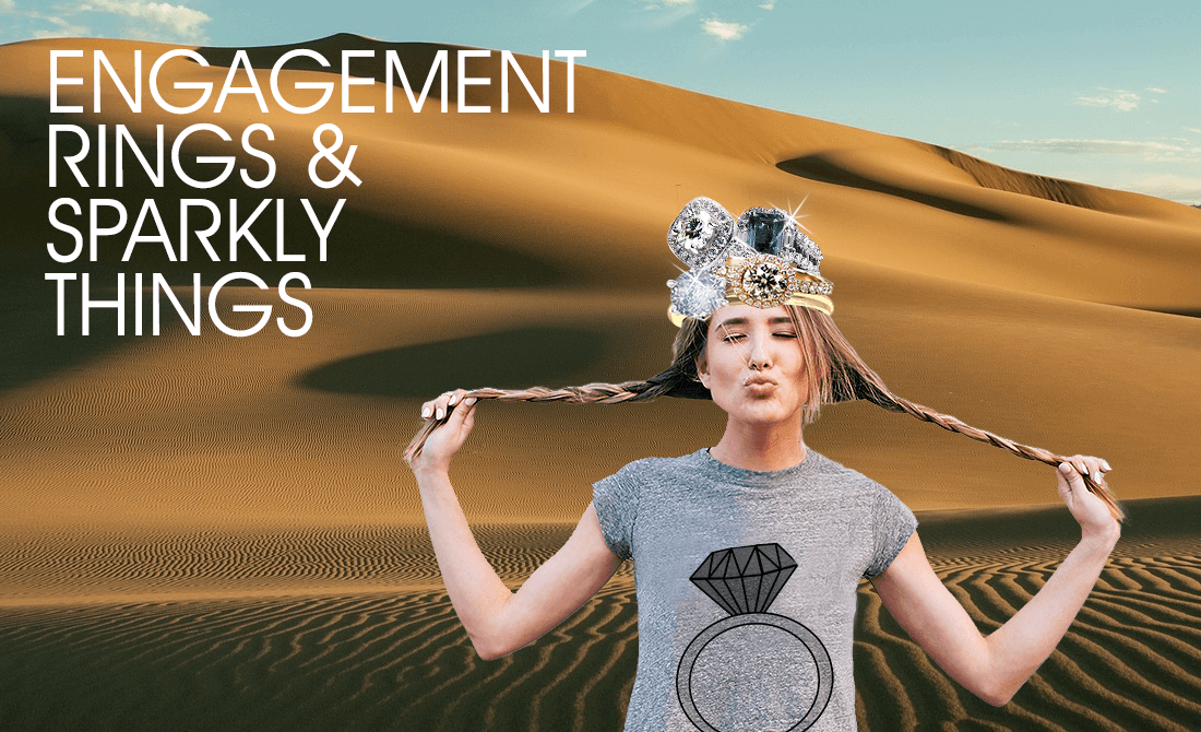 Girl in desert with engagement rings on her head