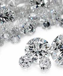 Pile of imitation diamonds, CZ, Moissanite, etc.