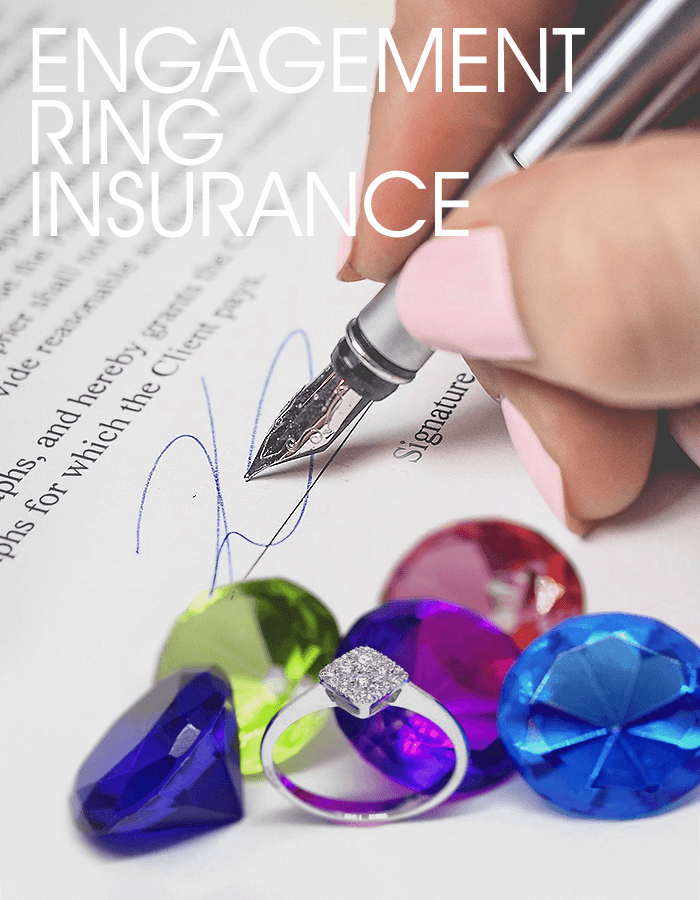 Signing an insurance contract with an engagement ring
