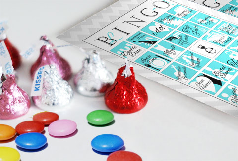 Bridal Bingo with Hershey Kisses and candy