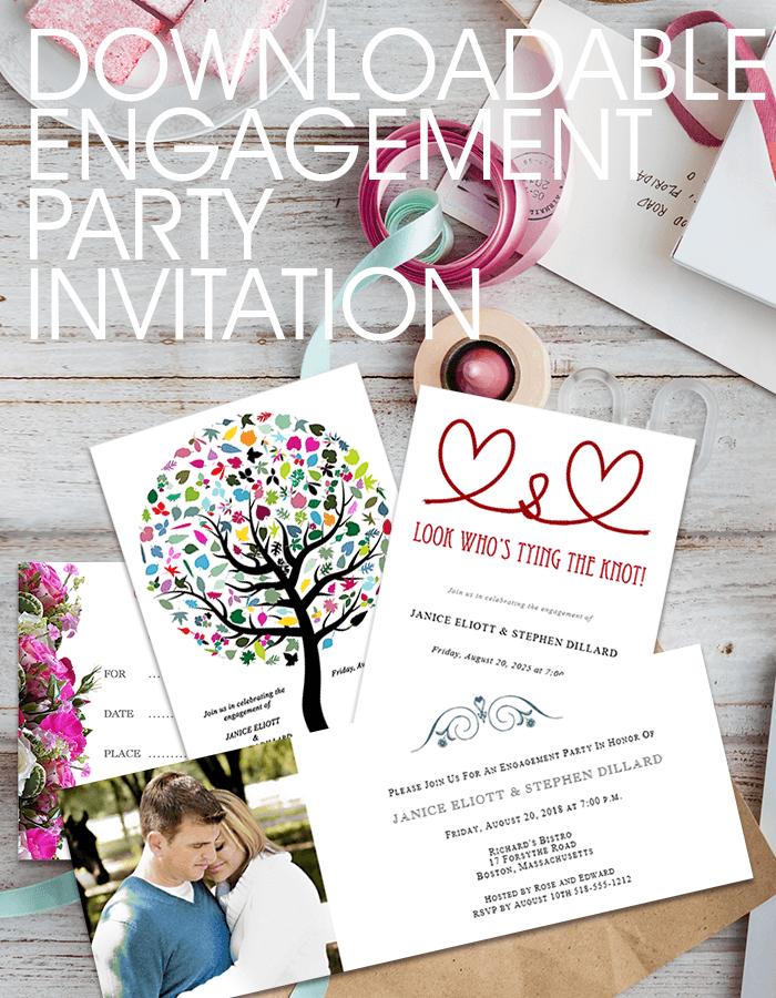 Different styles of engagement party invitations on a table top
