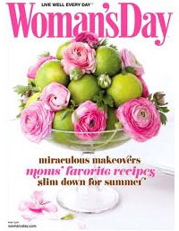 Magazine cover of pink peonies and green limes on a cake stand
