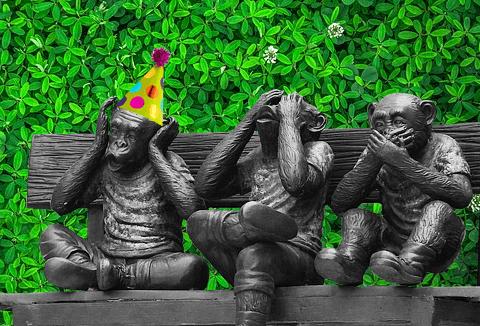 Three monkeys doing hear no evil, see no evil, speak no evil