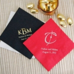 Red and black monogrammed cocktail napkins