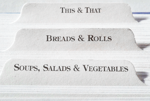 Recipe cards with various labels