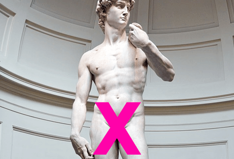 Statue of David with a pink X at his groin