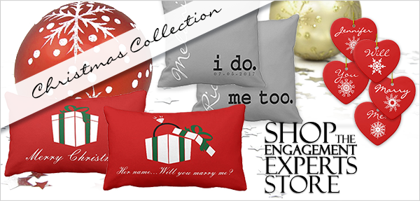 Christmas decorations and pillows with will you marry me printed on them