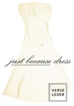 Off white dress by designer Herve Leger