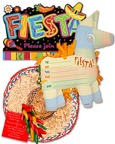 Mexican fiesta party invitation ideas with pinata motif and a sombrero