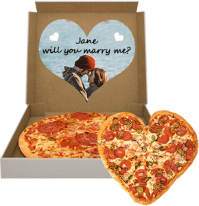 pizza box with heart shaped pizza and a marriage proposal