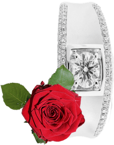 A red rose and a diamond ring