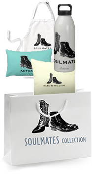 Shopping bag and products with a soulmates design